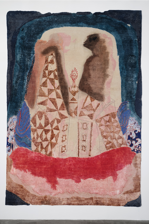 "Sanford Biggers  Ibegi (Duet), 2019  79"" x 118""  Hand knotted silk & wool"