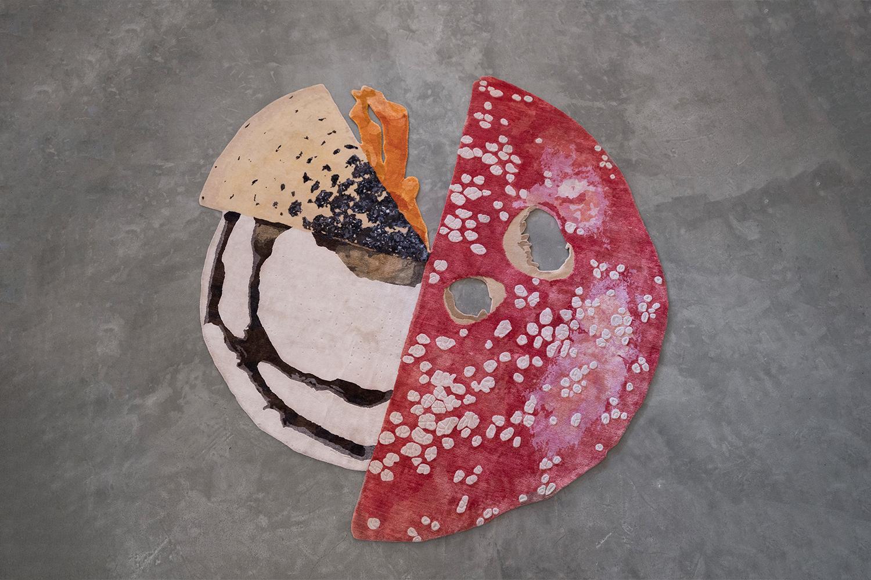 """Carsten Höller   Mushroom Carpet , 2018  110"""" x 110""""   Hand knotted wool & silk"""