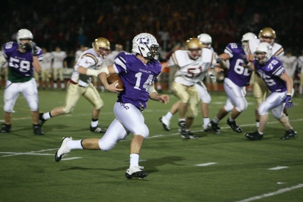 Junior quarterback Nick Gentile adding to his career-high night in the Regional Final (photo credit - Barb Dougherty)