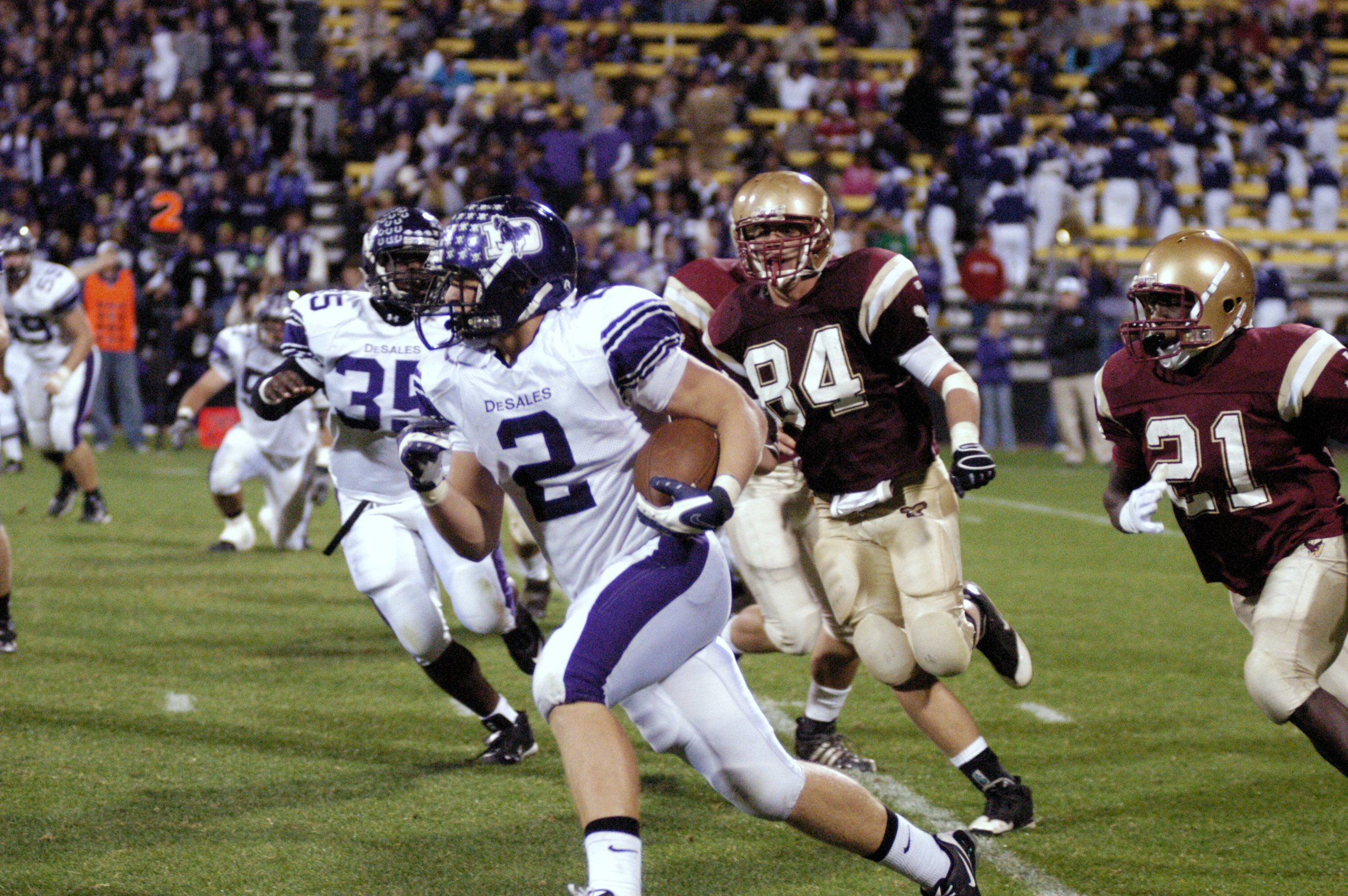 Josh Kusan (2) ran for 135 yards and had a key interception late in the 4th quarter to preserve the victory for the Stallions (photo credit - Barb Dougherty)