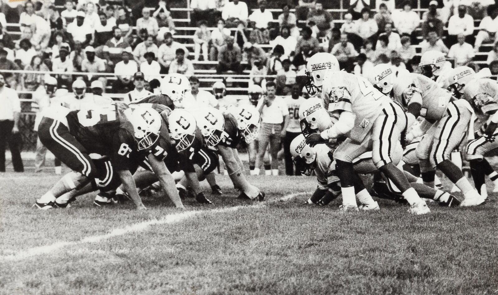 The first Varsity Football game in Alumni Stadium