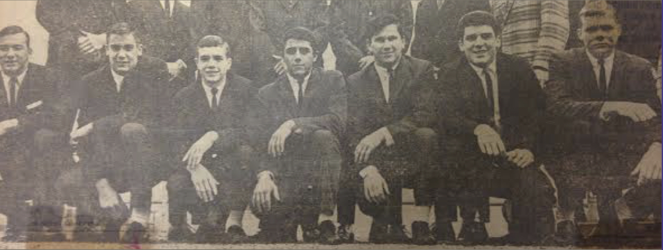 1964 All-Central Catholic League  Pictured (L - R):  Mike Metzger, Carl Linke, Ken Schneider, John Hassey, Nick Early, Mike DeAscentis, Lynn Van DeWalle