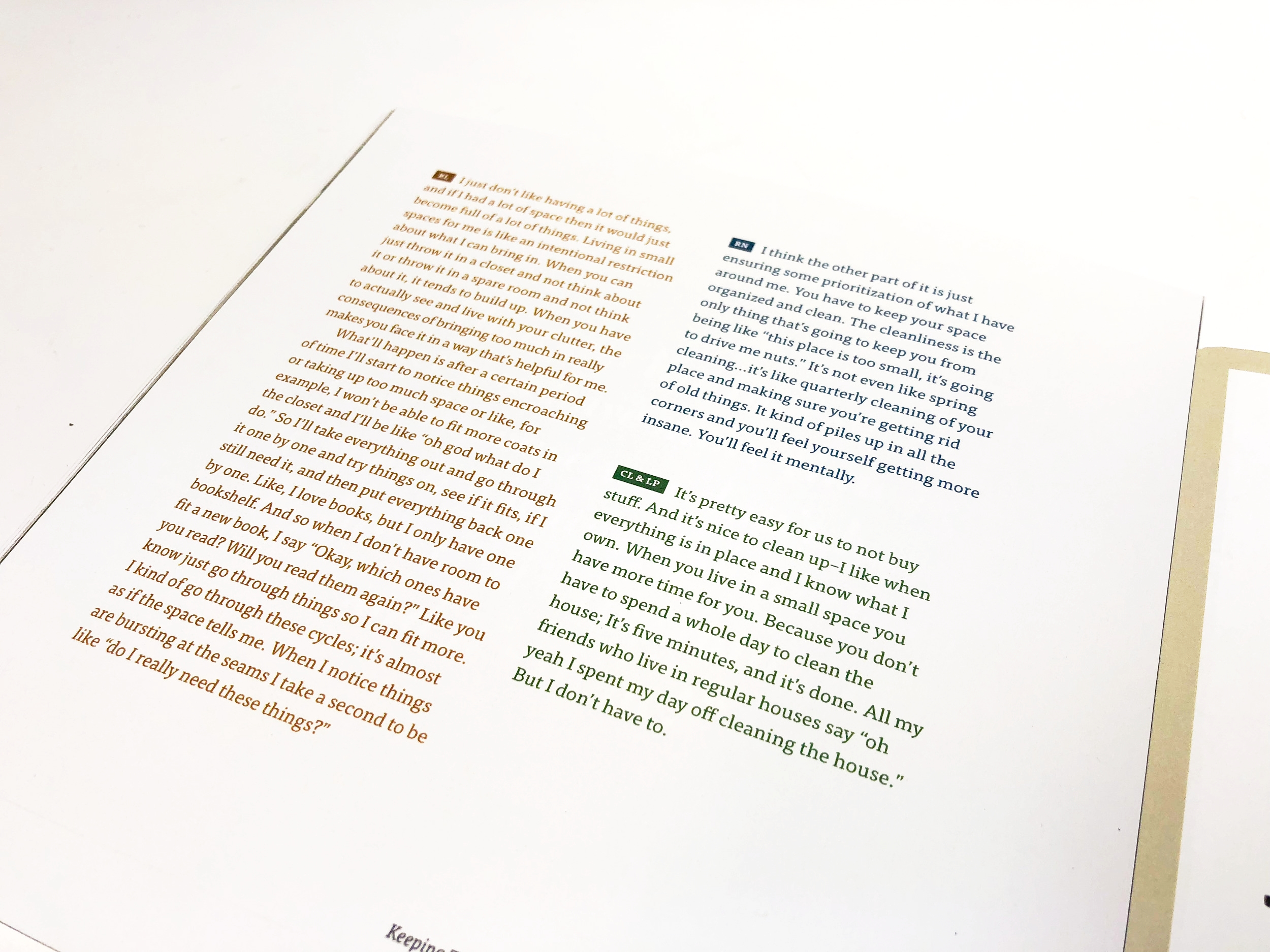 In each chapter, each person's input related to that topic was set in their unique color.