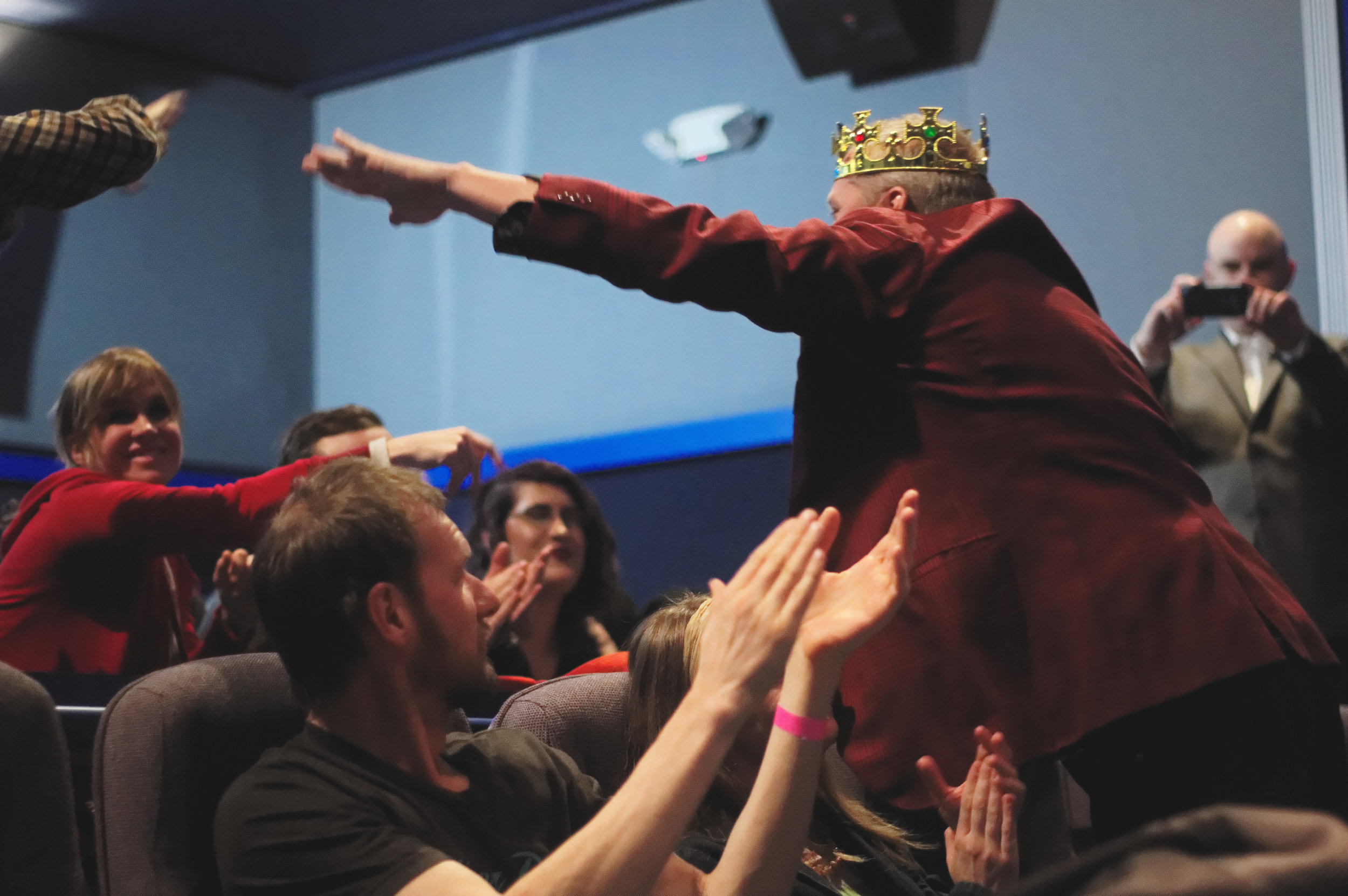 Raymond P. Whalen the star of the documentary VORE KING greets audience members following the award winning film's screening at MidWest WeirdFest 2017. (Photo by Luong Huynh)