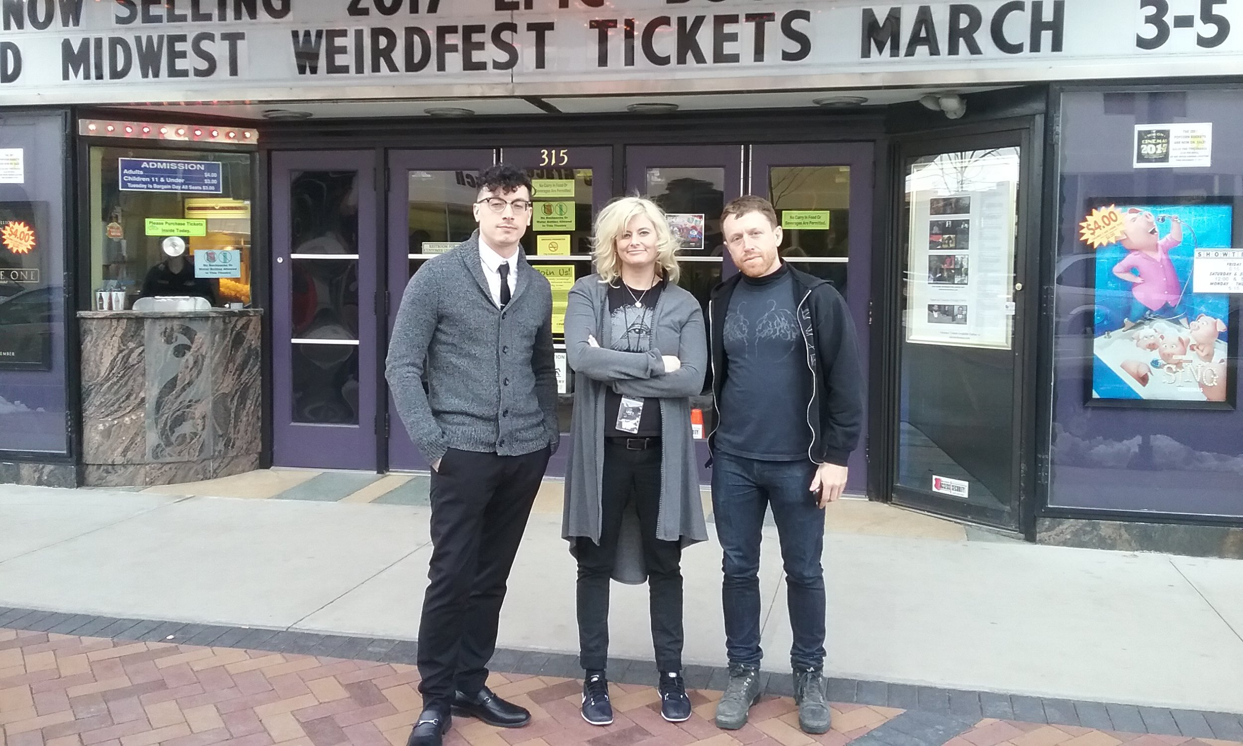 (Left to right) Danny Villanaueva Jr.,  Maddie Holliday Von Stark, and Dan Schneidkraut at MidWest WeirdFest 2017.