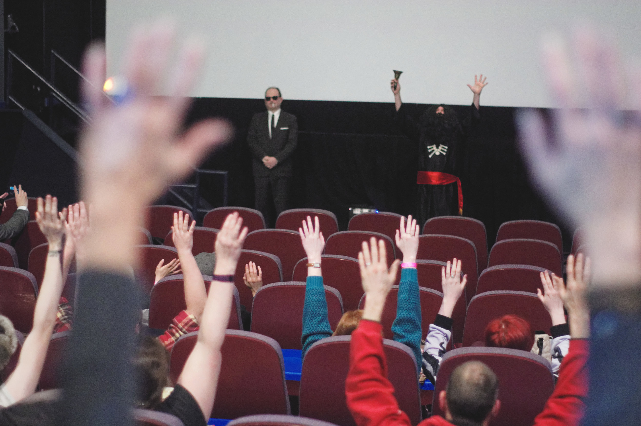 Ivar (with bodyguard Pappy) blesses the VORE KING screening at MidWest WeirdFest 2017. (Photo by Lyuong Huynh)
