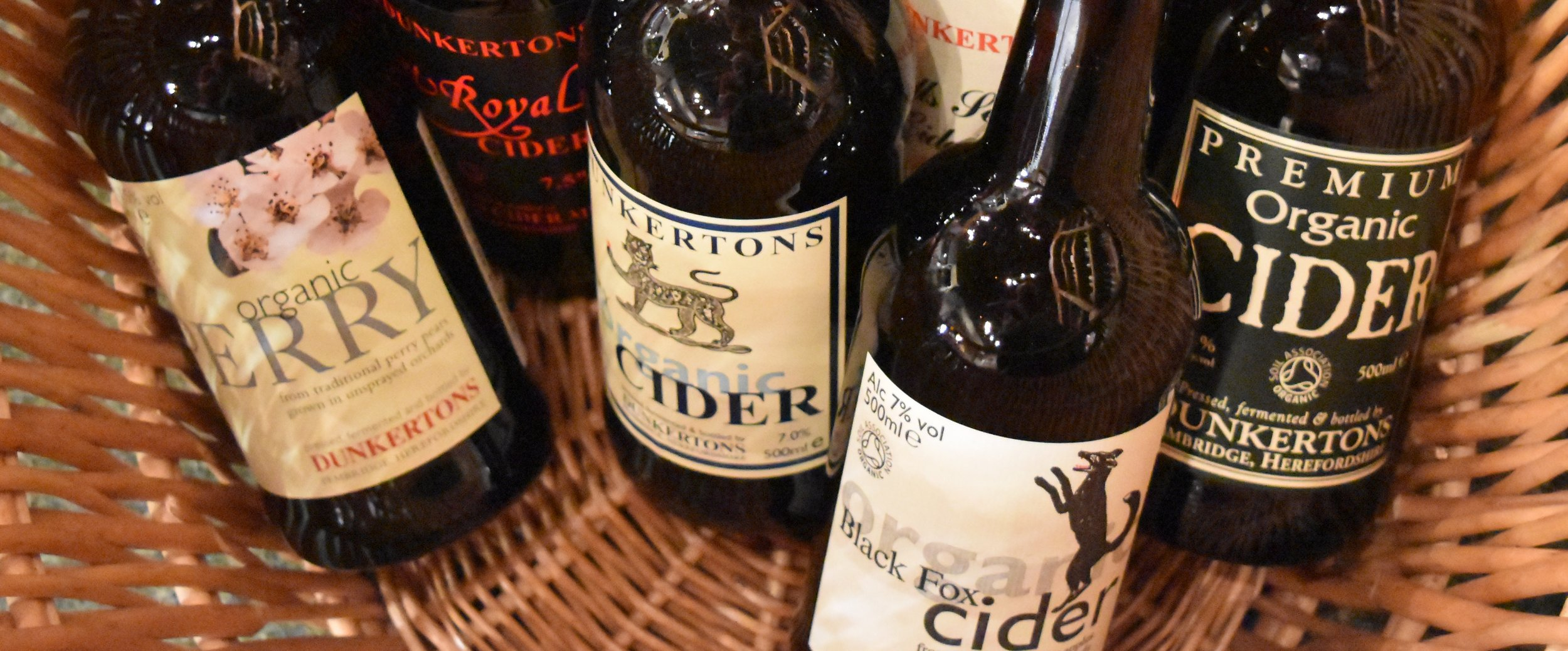 We have over 15 different ciders and perries. These are some from the Dunkertons Organic range.