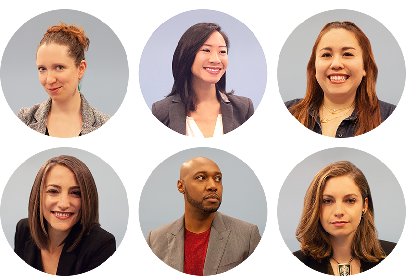 Rachel, Kim, Paloma, Rory, Willie, and Lily. Not pictured: Y-Vonne Hutchinson, Founder & CEO.