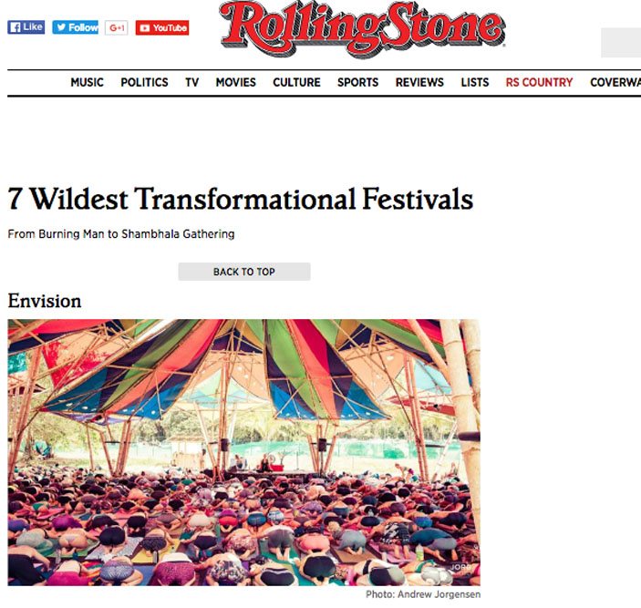 See Kali's  latest appearance in Rolling Stone  magazine for her Yin Yoga class at Envision Festival, listed as one of the seven most transformational music festivals in the world.