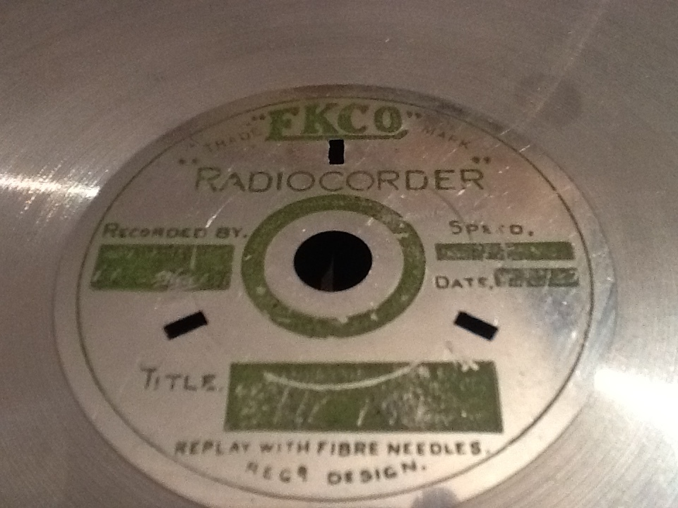 "The labels are etched with the words ""New BBC Band"", ""Home"" and ""15/3/32"""