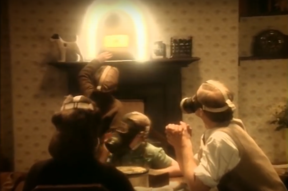 "An image from the 1984 Queen video ""Radio Ga Ga"", a nostalgic ode to the radio era. Radio listening was shared and not immersive."