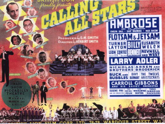 "An advertising poster for the film ""Calling All Stars"" with release date 1st March 1937"
