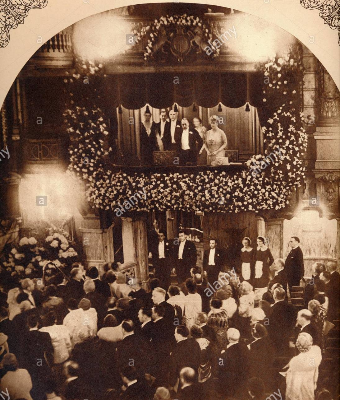 A rare photograph of the show during the 1930s with King George V and Queen Mary, when it was called the Royal Command Performance.
