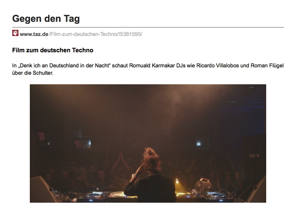 Gegen den Tag / Film zum deutschen Techno