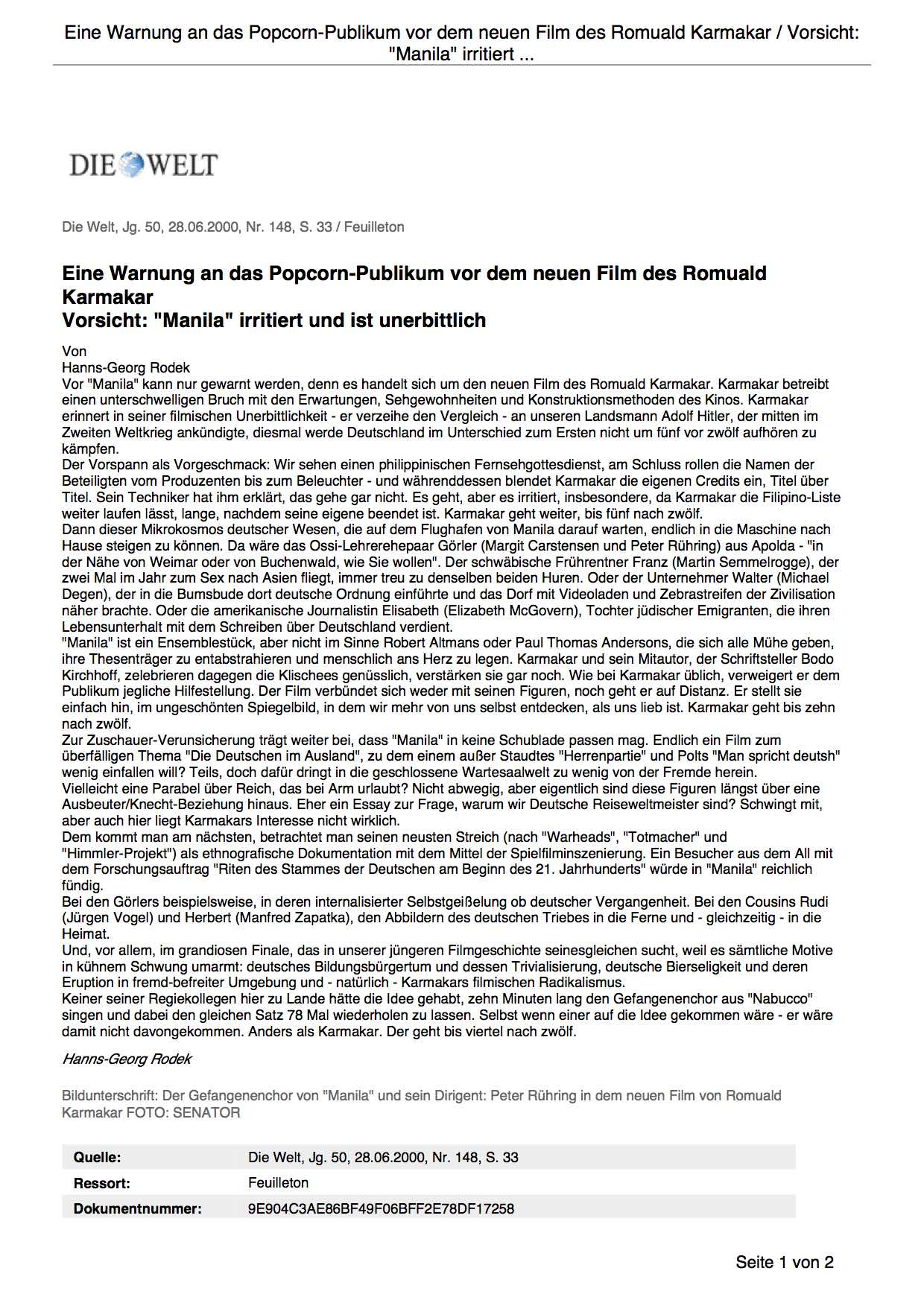 Eine Warnung an das Popcorn-Publikum vor dem neuen Film des Romuald Karmakar