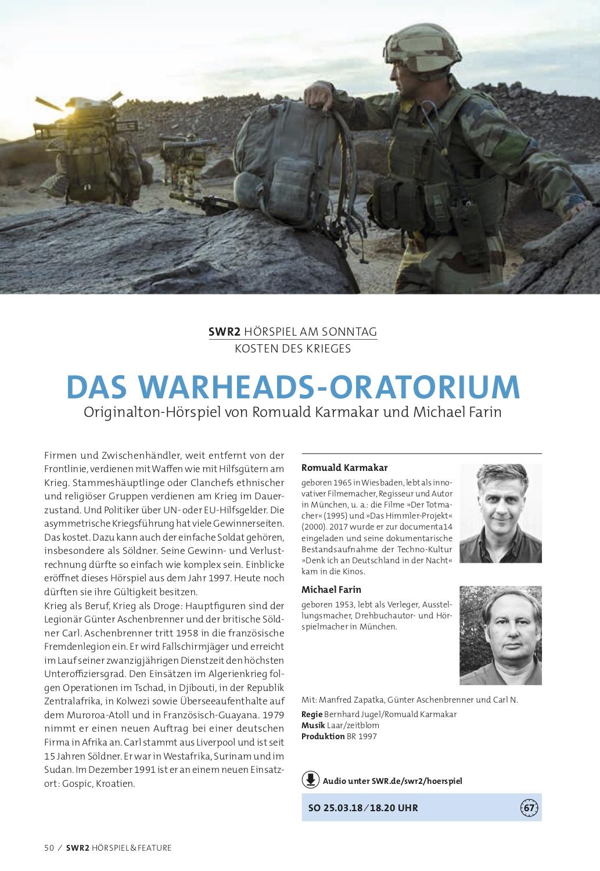 HÖRSPIEL & FEATURE im Südwestrundfunk Nr. 1 / 2018 (01.01. - 30.06.18)