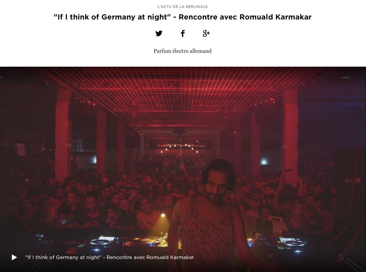 """IF I THINK OF GERMANY AT NIGHT"" - RENCONTRE AVEC ROMUALD KARMAKAR"