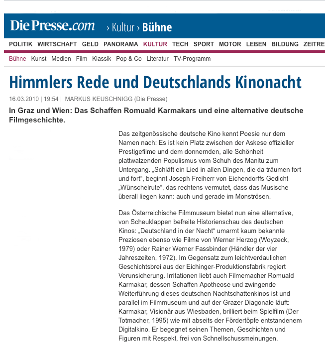 Himmlers Rede und Deutschlands Kinonacht