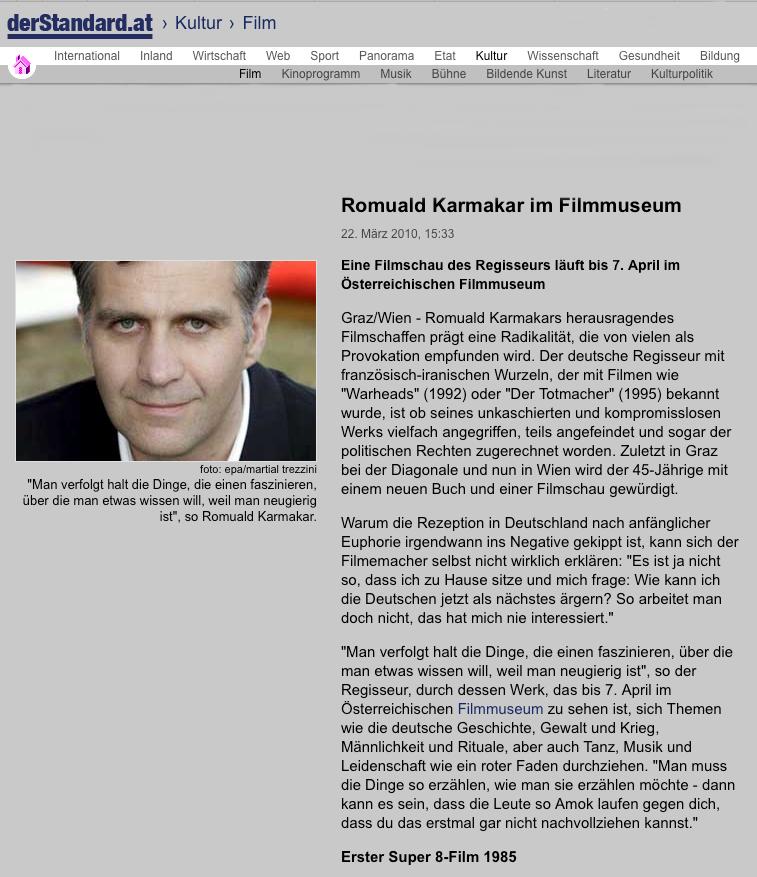 Romuald Karmakar im Filmmuseum