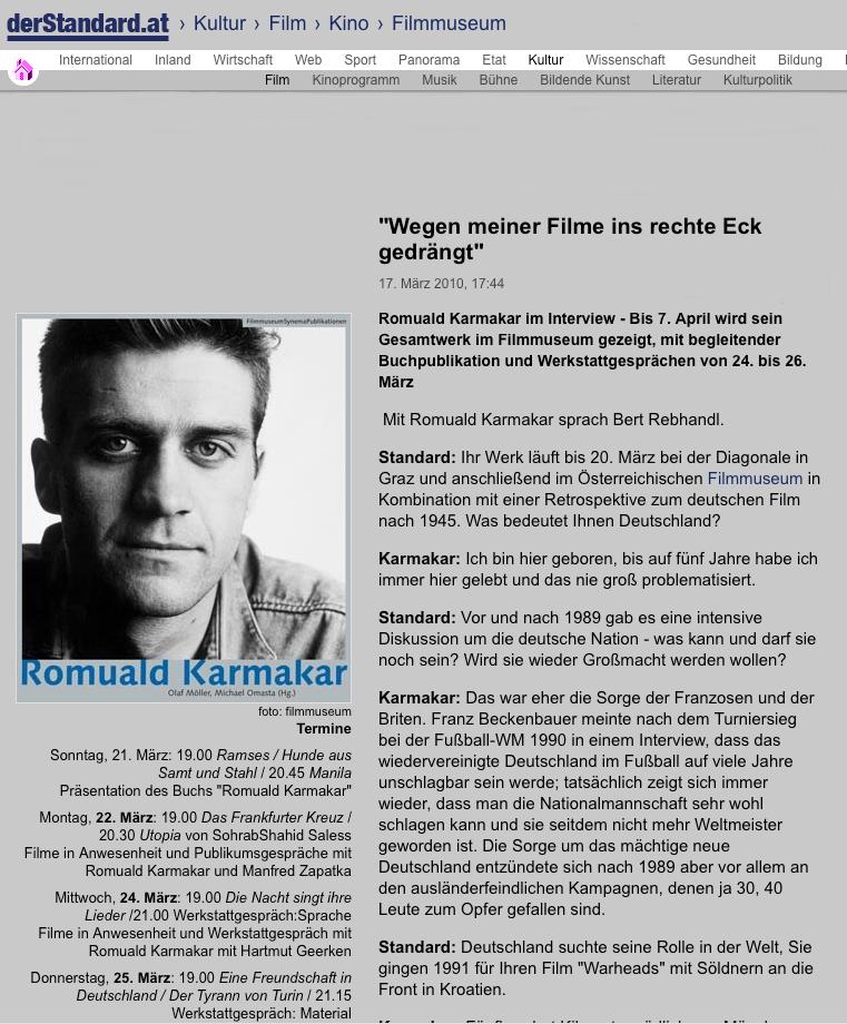 """Wegen meiner Filme ins rechte Eck gedrängt"""