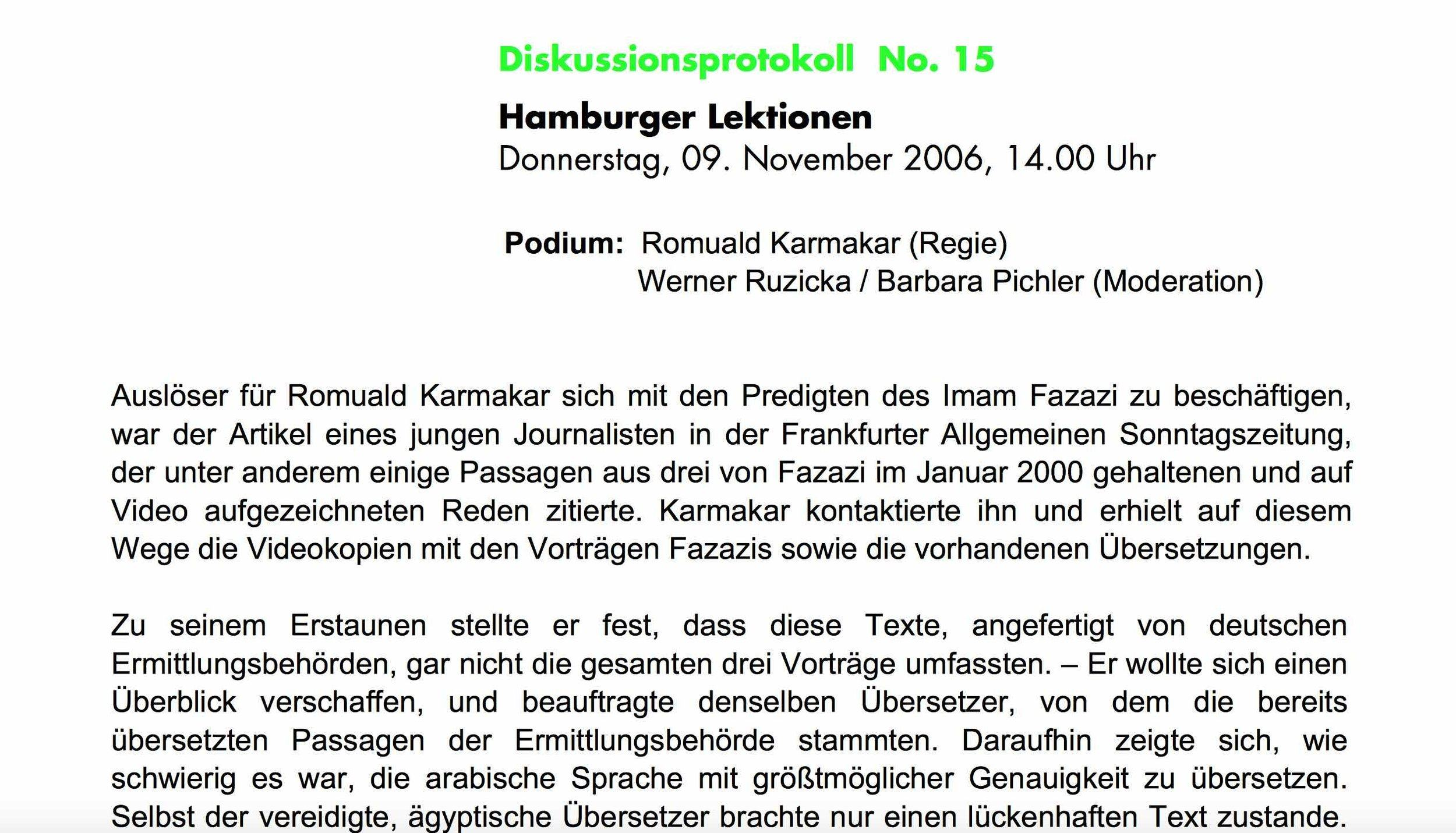 HAMBURGER LEKTIONEN / 30. DUISBURGER FILMWOCHE