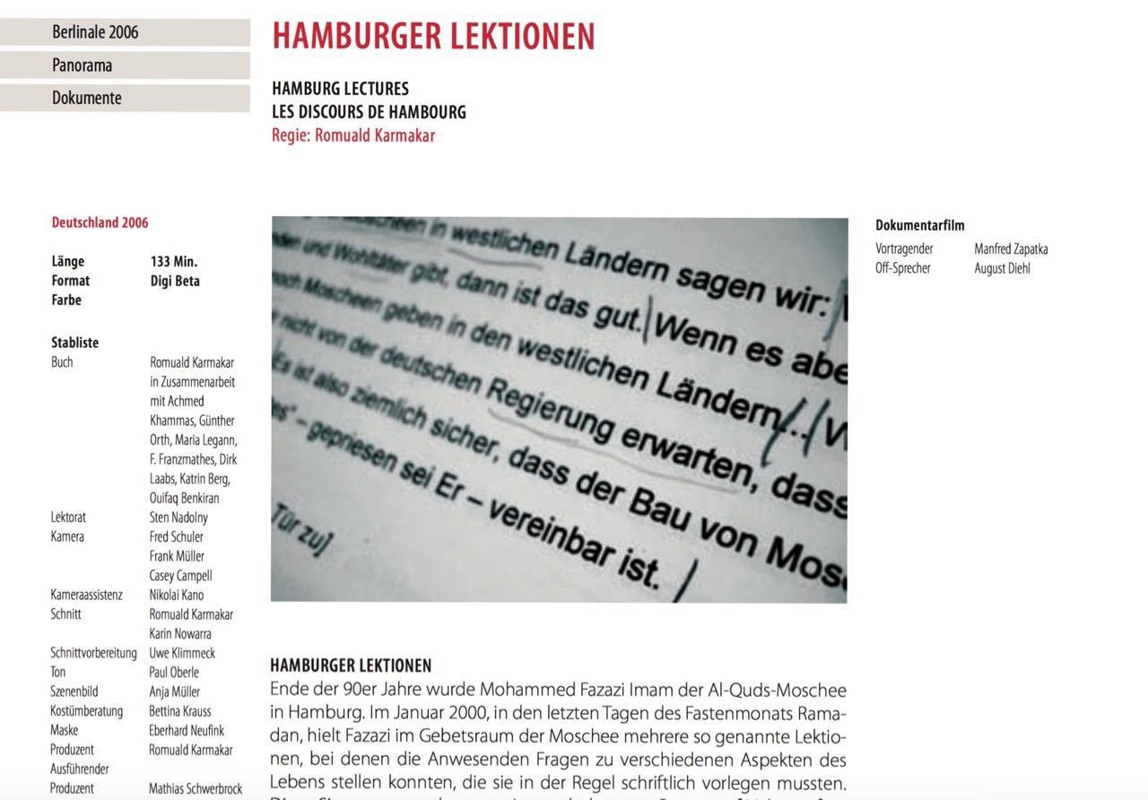 HAMBURGER LEKTIONEN / BERLINALE 2006