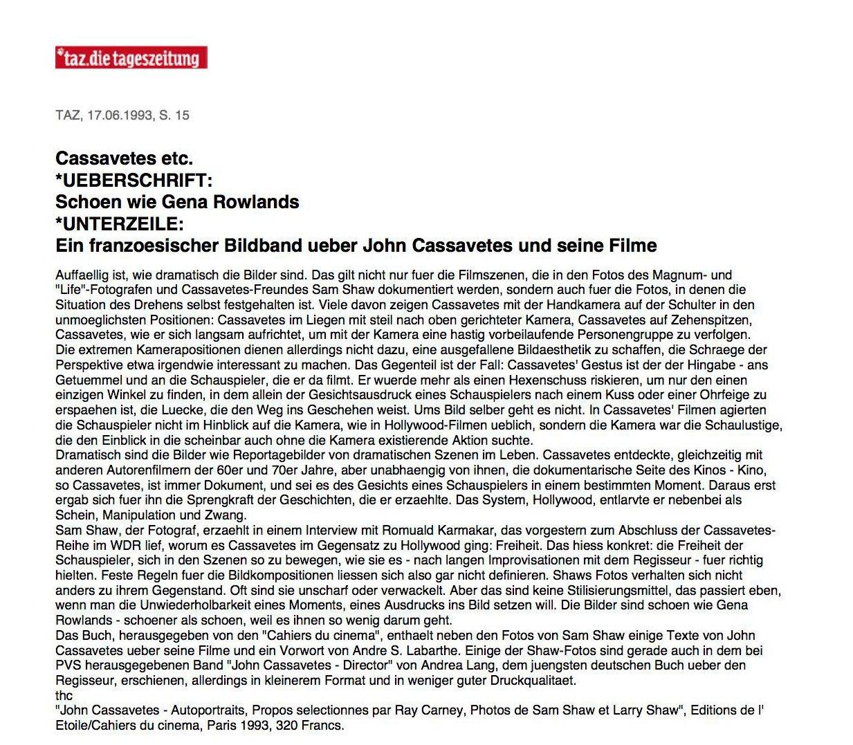 CASSAVETES ETC. / SCHÖN WIE GENA ROWLANDS