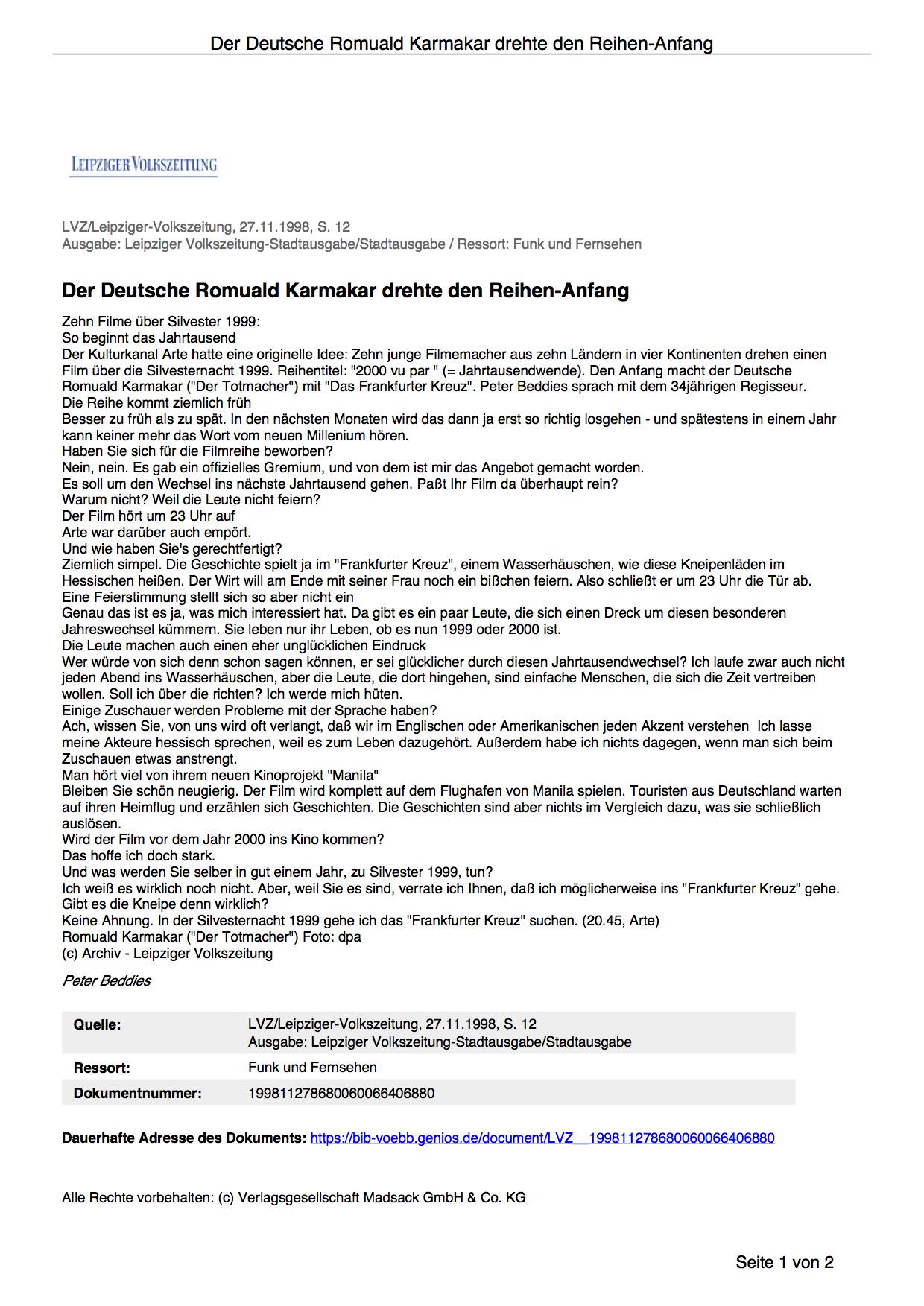 DER DEUTSCHE ROMUALD KARMAKAR DREHTE DEN REIHEN-ANFANG