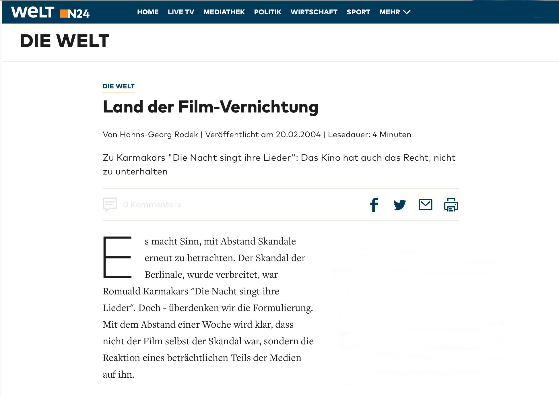 LAND DER FILM-VERNICHTUNG