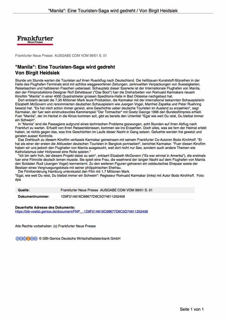 """""""MANILA"""": EINE TOURISTEN-SAGA WIRD GEDREHT"""