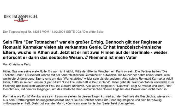 """Sein Film """"Der Totmacher"""" war ein großer Erfolg"""
