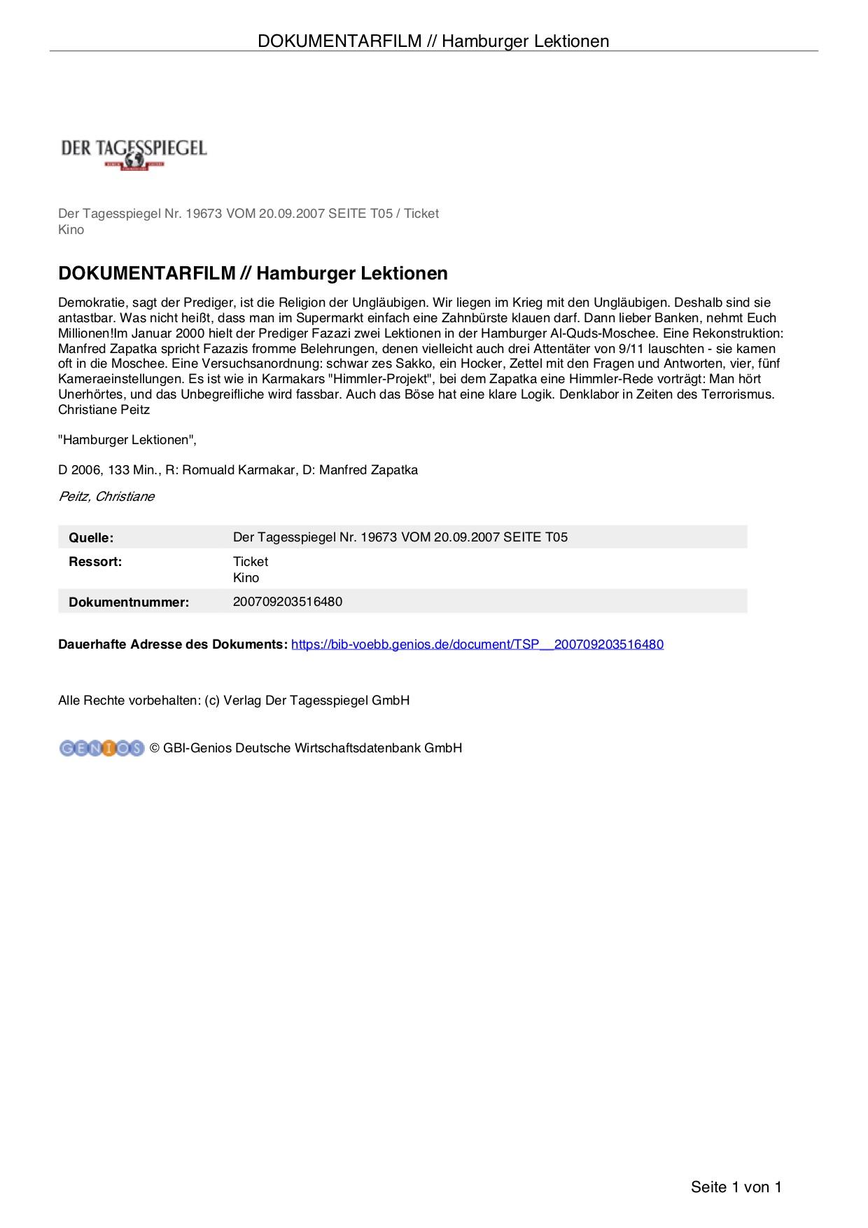 DOKUMENTARFILM // HAMBURGER LEKTIONEN