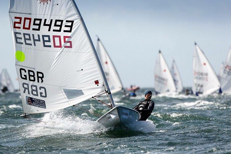 Reaching back from racing at the RYA Youth Nationals.