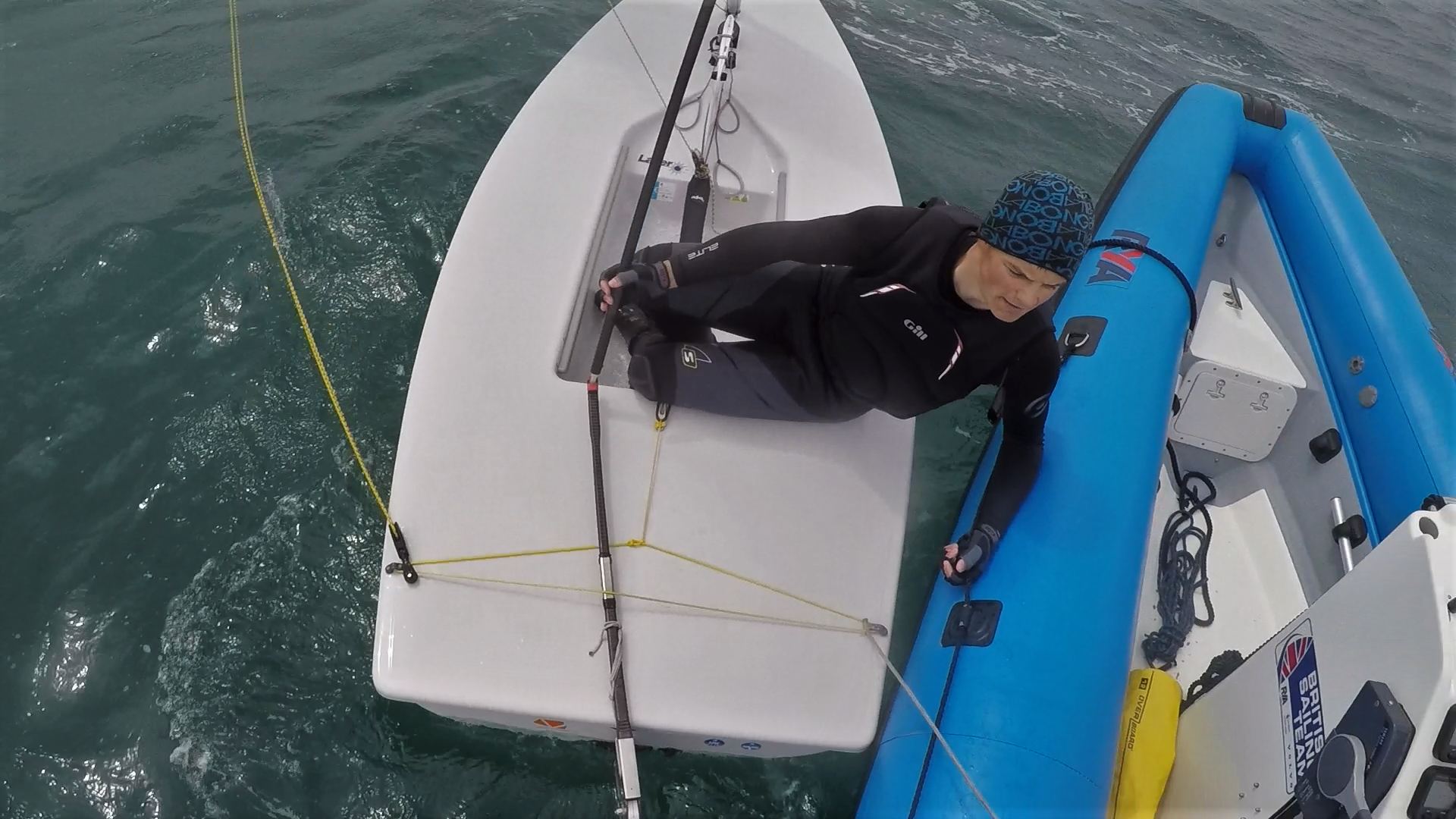 Talking over one of the practice races after a particularly windy downwind!