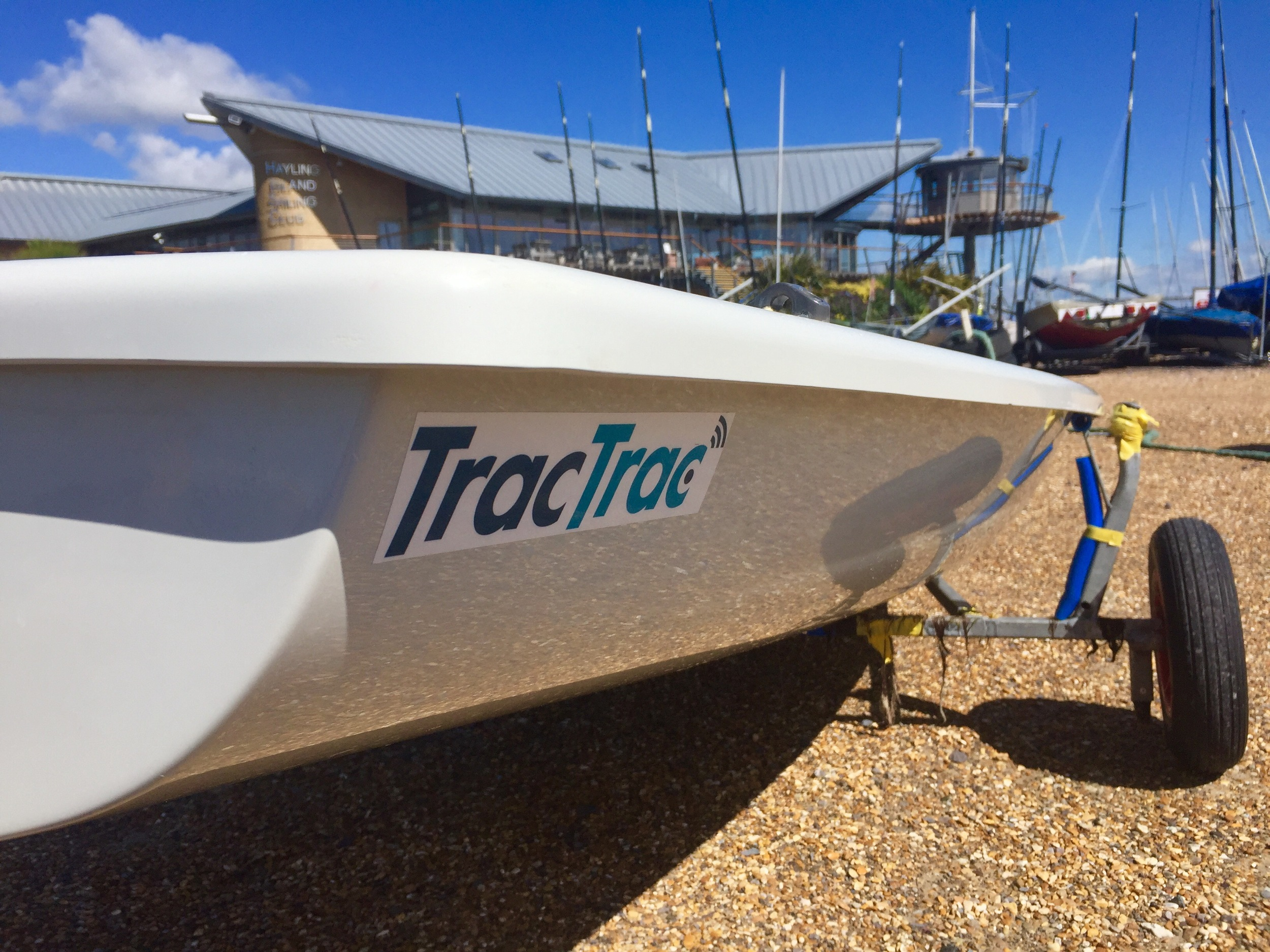 One of my sponsors, TracTrac UK, stickers on my boat.