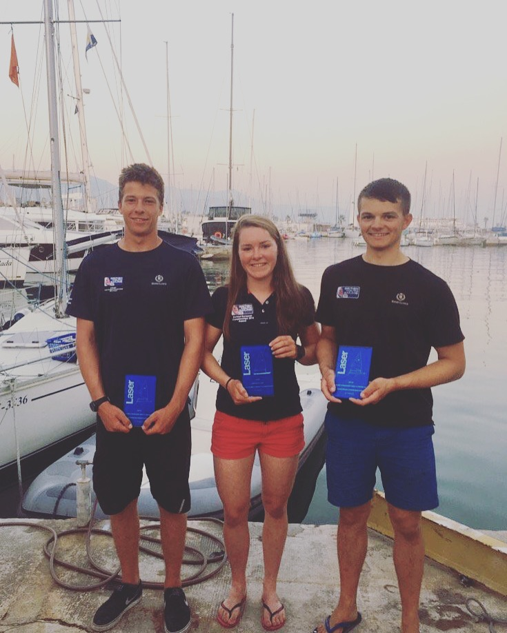 Jack Cookson, who narrowly beat me to 7th overall, Clemmie Thompson who did very well in the girls fleet finishing 5th overall and me with my trophy after finishing 8th overall.
