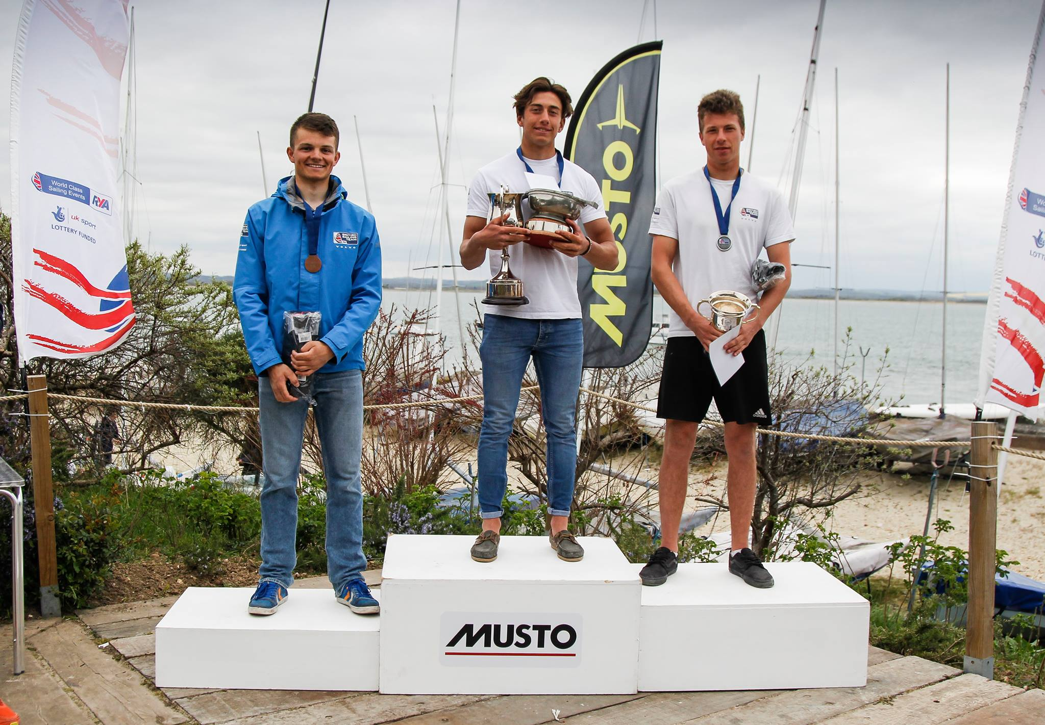 On the podium with my teammates Dan Whiteley and Jack Cookson. Photo credits: RYA/Paul Wyeth.
