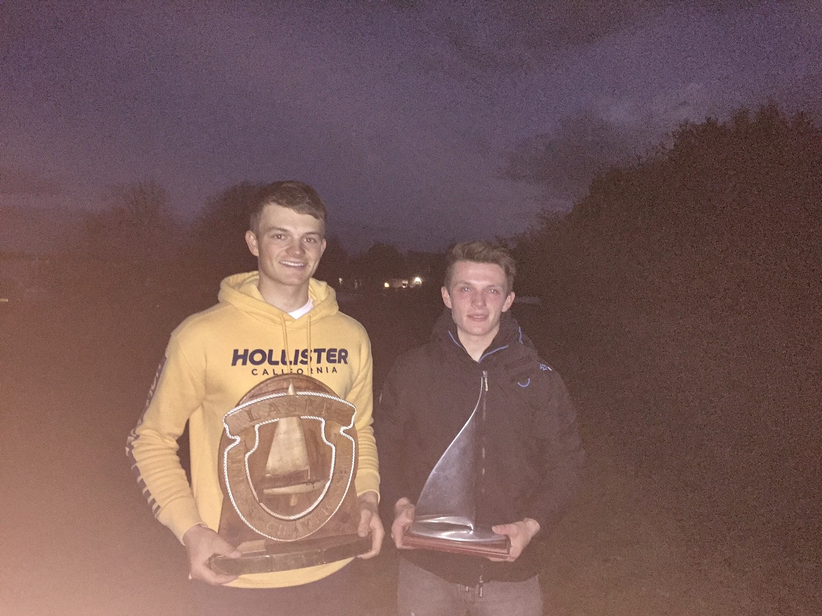 Me with the Laser Standard Inland Champion trophy and my younger brother Ben who won the Laser Radial Inland Championship!