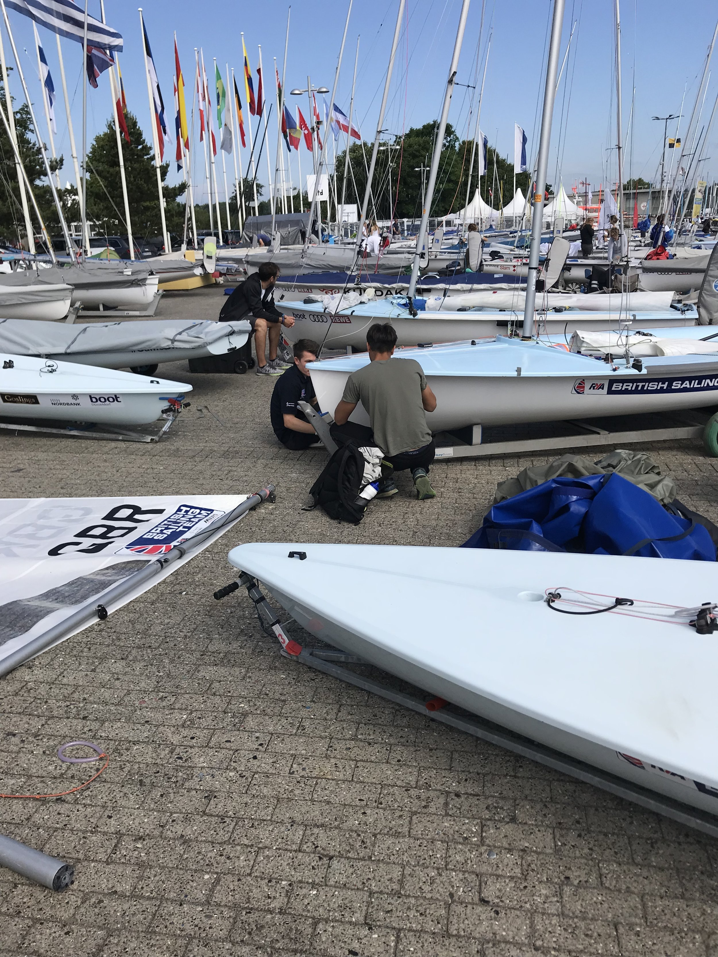 It was nice to be next to my brother Ben with his 470 next to me in the boatpark.