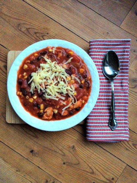 """I have a few different chili recipes I make. Some in my slow cooker, others just on the stove. This is one is nice because it literally takes 10 minutes to throw together, and at the end of the day, a warm bowl of comfort waiting for you."""