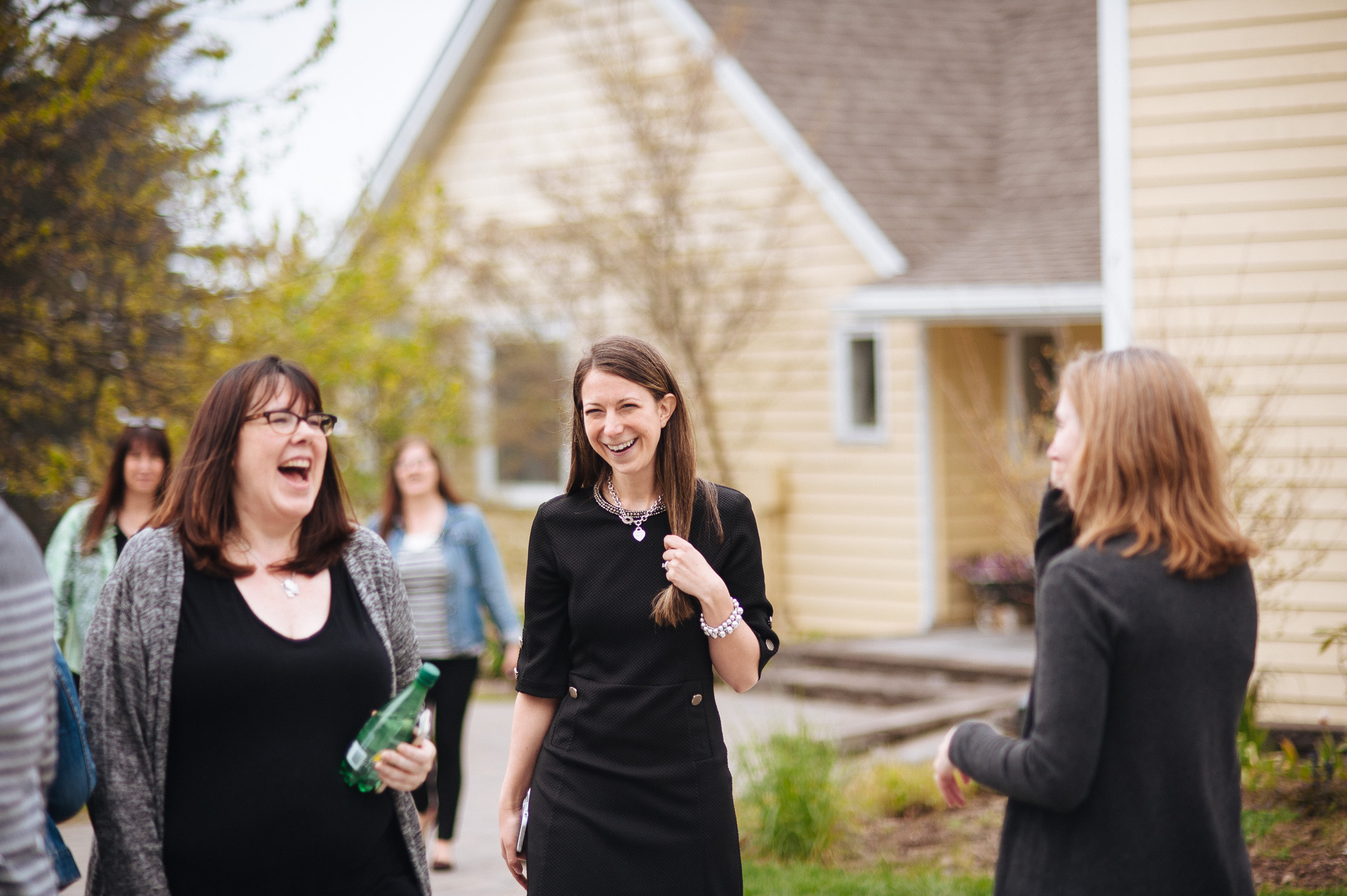 Me, on the right, clearly being witty and charming with our hostess and Colleen from Curtains Are Open (Photo courtesy of Tanya Canam Photography)