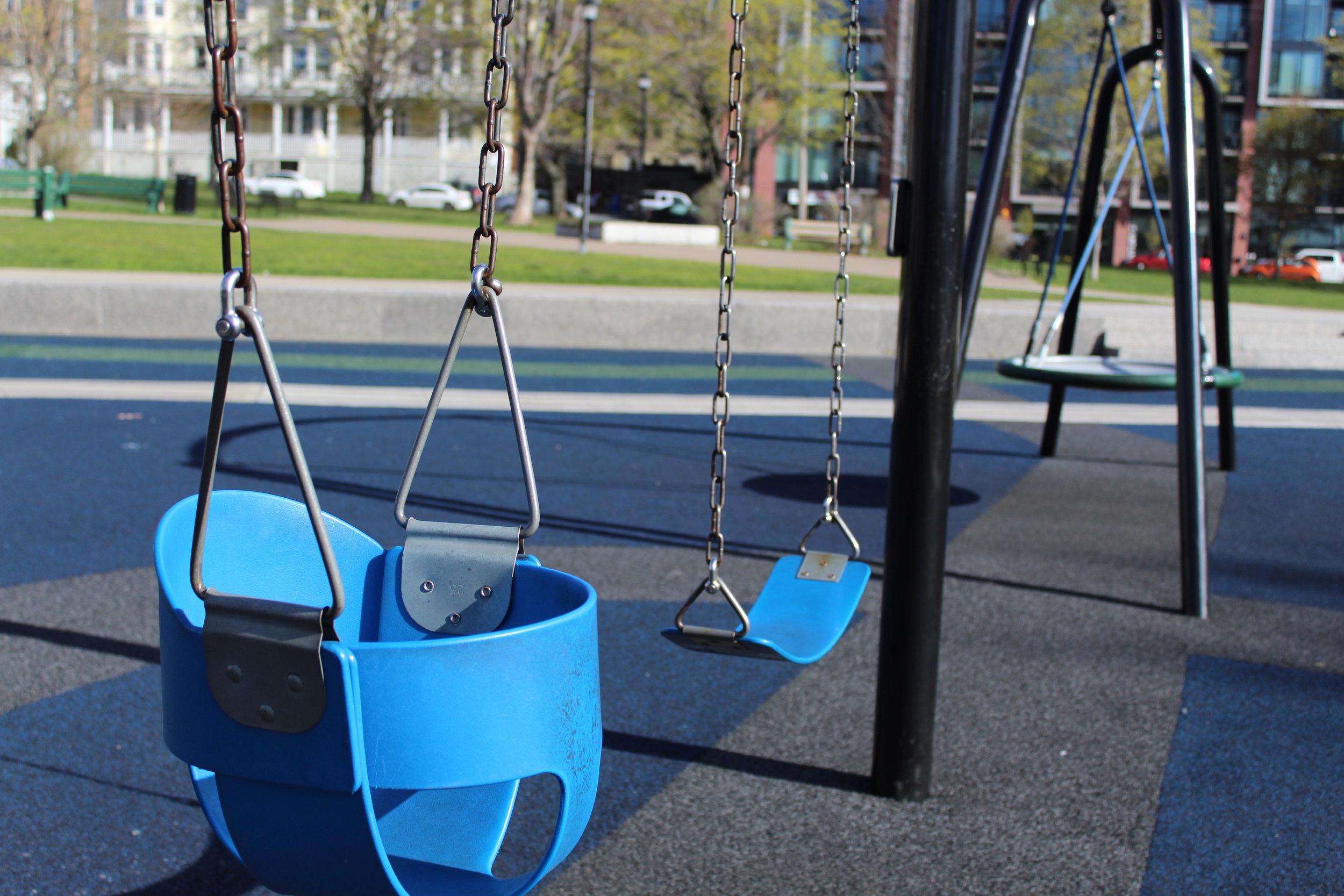Swings at Train Playground