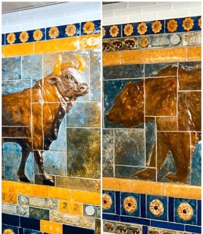 Bull and Bear at Cortland. Photo Collage by Alberto Zamora.
