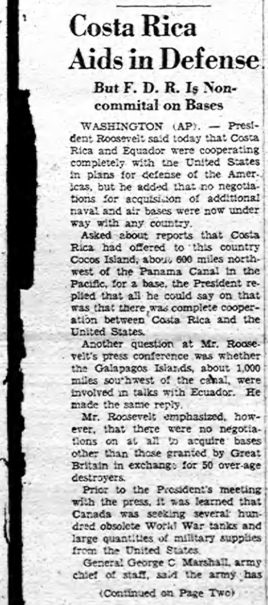 "Story by AP (The Associated Press) published by the ""Citizen Daily Register"" in New York on Friday September 6, 1940."