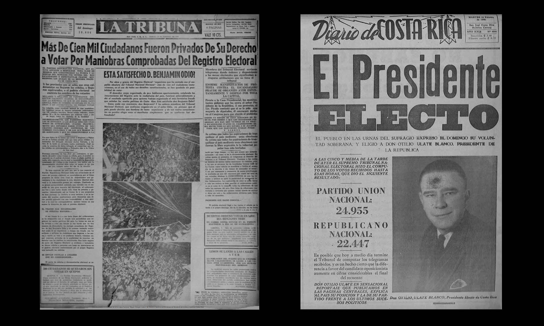 "A side by side comparison of the covers for February 10, 1948 of the two most antagonized newspapers at the time. The officialist ""La Tribuna"" and Ulate's own ""Diario de Costa Rica""."