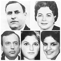 The Calderón-Fournier family. Top row (from left to right) Dr. Rafael Ángel Calderón Guardia, Maria del Rosario Fournier.  Bottom Row (from left to right) Rafael Ángel Calderón Fournier (Junior), Alejandra Calderón Fournier and Maria del Rosario Calderón Fournier.