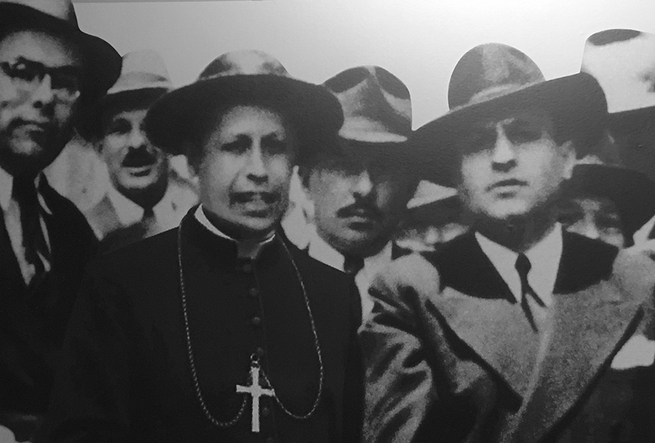"From left to right: Manuel Mora Valverde (Communist Leader & former adversary of Dr. Calderon Guardia in the 1940 election), Monsignor Sanabria (head of the Catholic Church in Costa Rica), and Dr. Calderón Guardia; campaigning in favor of the ""Social Guarantees"" in 1943."