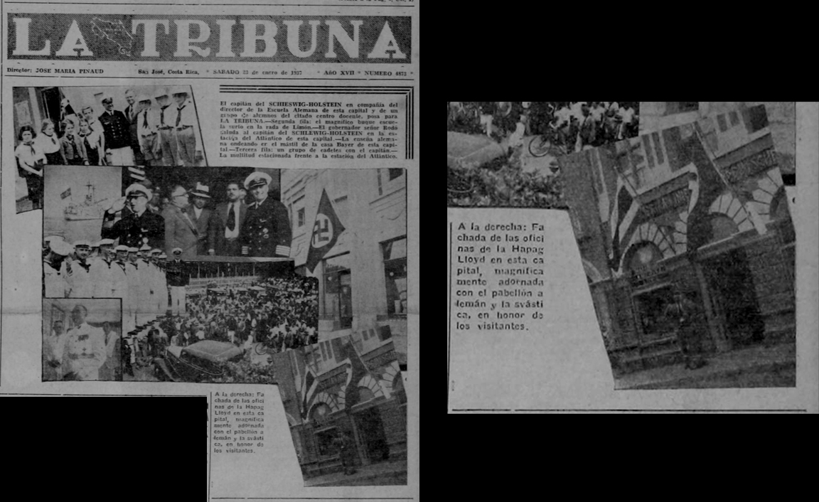 "On January 23, 1937 Commander G ü nther Krause was greeted by Costa Rican officials. The Swastika Flag of the Third Reich was flown together as a welcoming sign with that of Costa Rica's.  Source: ""La Tribuna"" January 23, 1937"