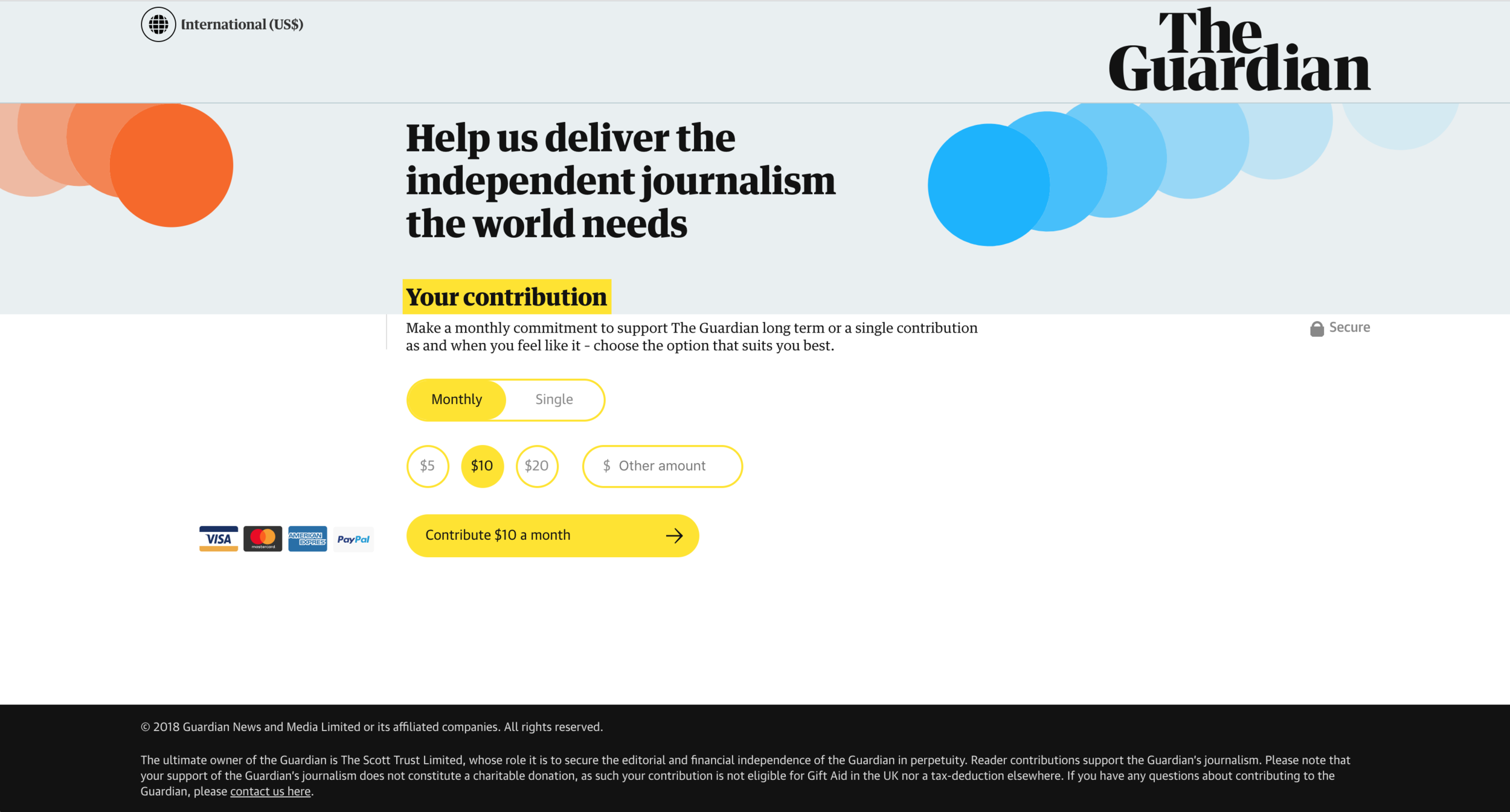 "Página de contribuciones para el periodismo independiente de ""The Guardian"""