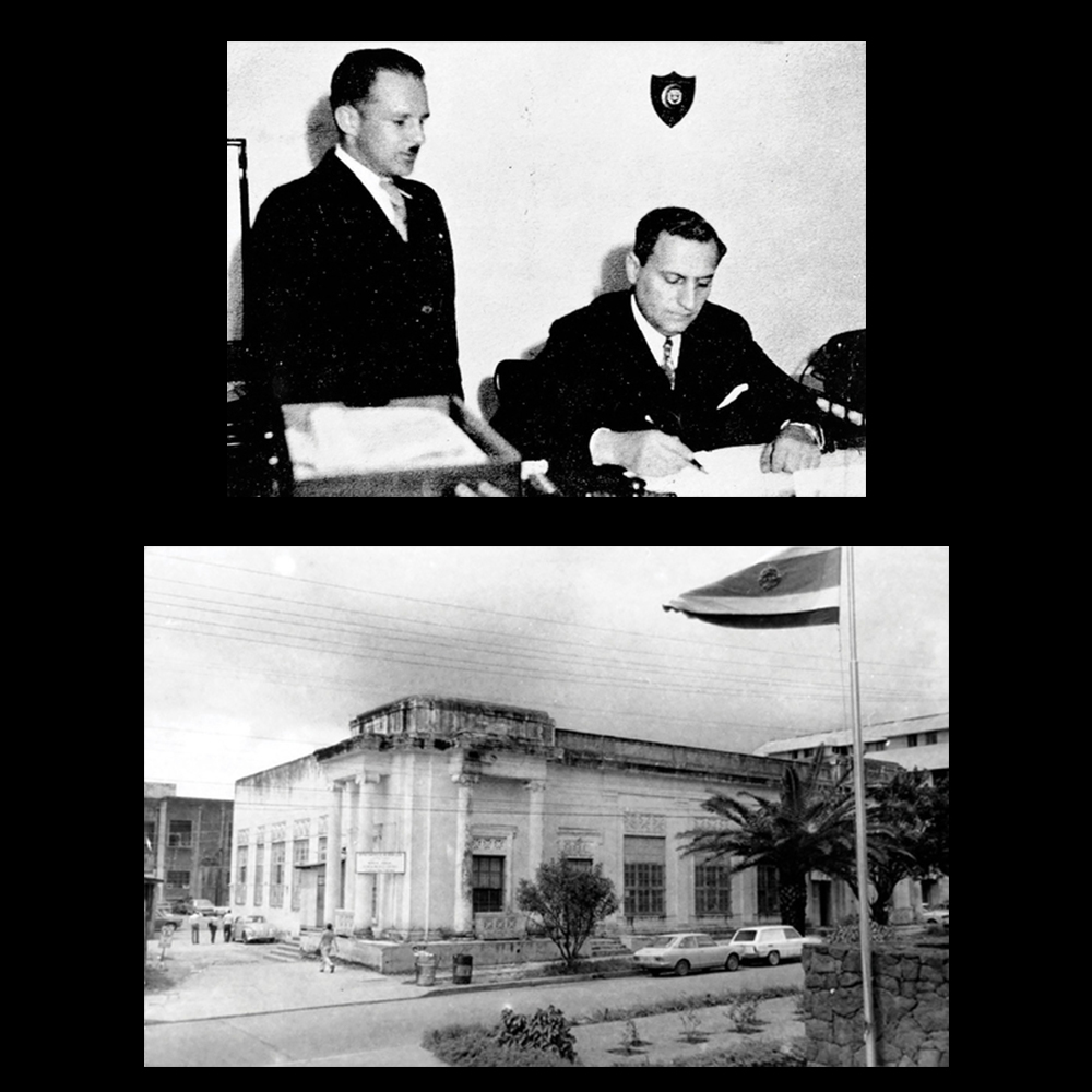 "Dr. Calderon Guardia signs the law which established the University of Costa Rica (UCR). In the photo he is with his Secretary of Public Education Luis Demetrio Tinoco (1940).  The second photo shows the building where classes were first held at the ""González-Lahmann"" neighborhood in San José, Costa Rica. The ""UCR"" first opened its doors on the 7th of March 1941 with more than 700 students enrolled.  Source: UCR History -  https://www.ucr.ac.cr/acerca-u/historia-simbolos/historia.html"